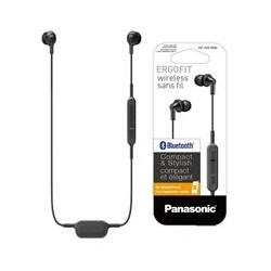 AUDIFONOS CON CONEXION BLUETOOTH TIPO INSERCION (IN-EAR) PANASONIC RP-HJE120BPK COLOR NEGRO, CON FUNCION MANOS LIBRES/MICROFONO,
